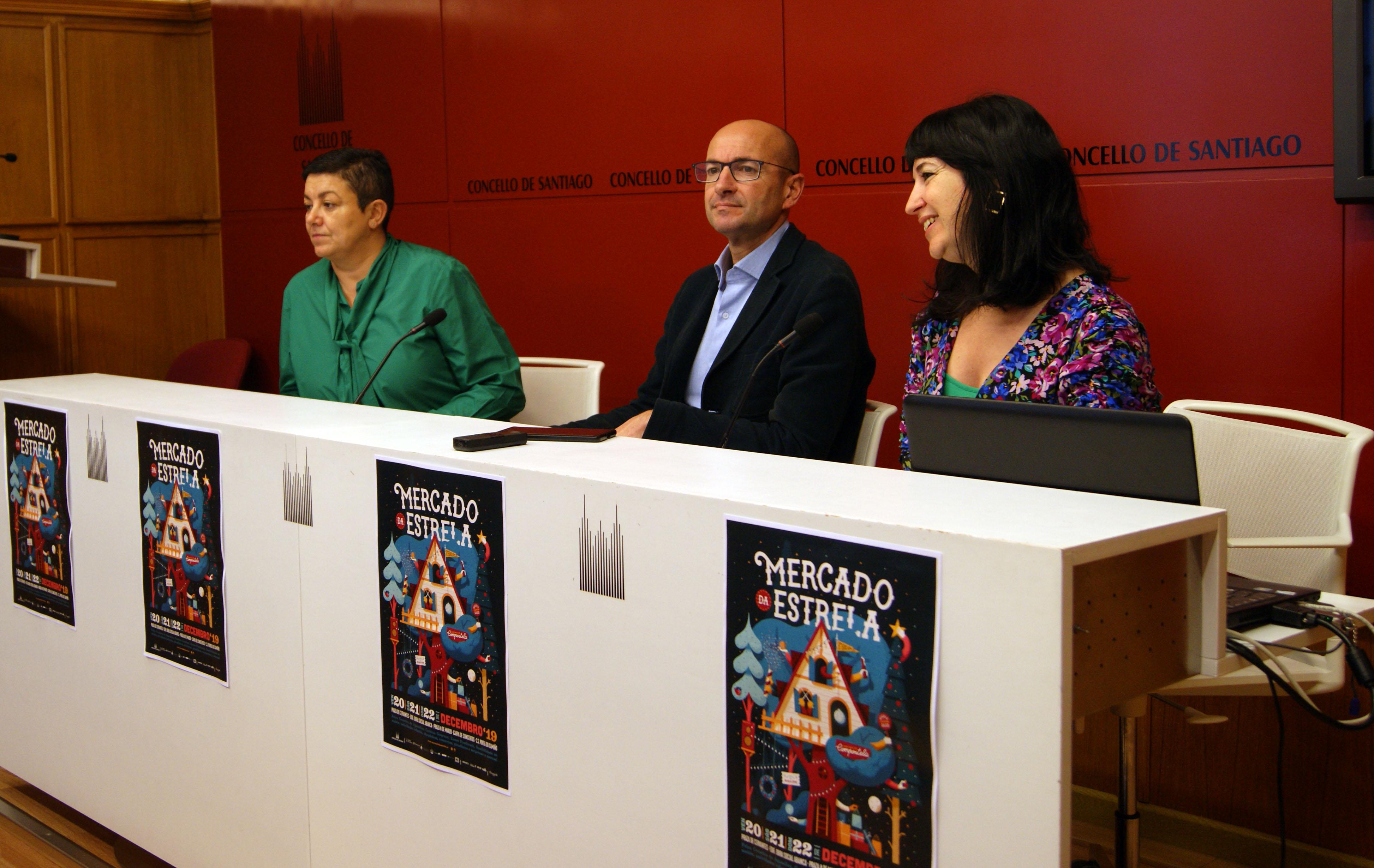 Elena Fabeiro, Gonzalo Muíños e Mónica Mejías presentaron o Mercado da Estrela.