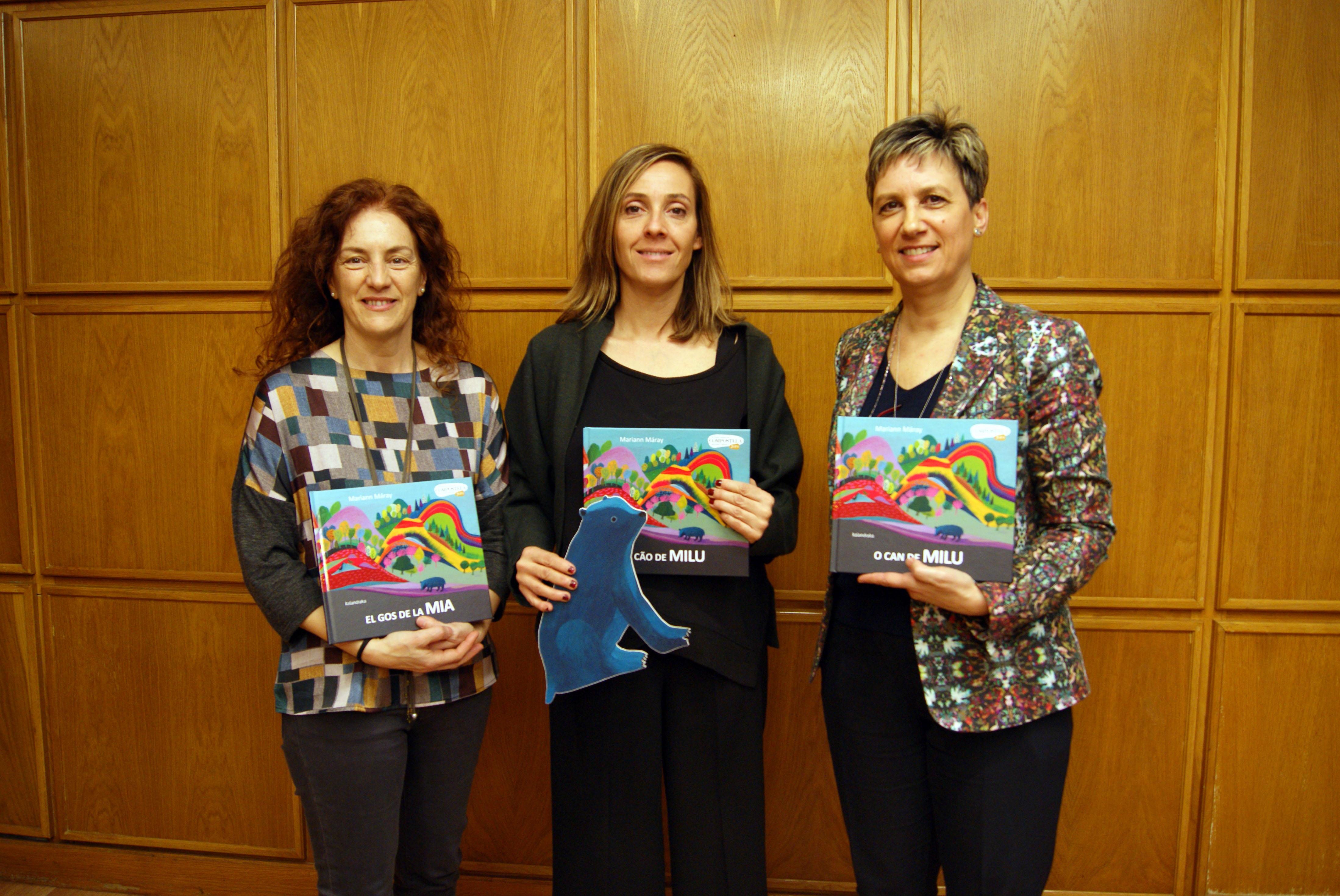 Manuela Rodríguez, Noa Díaz e Beatriz Varela deron conta dos detalles da Campaña de Animación á Lectura..